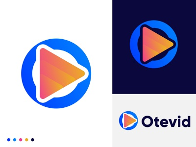 Otevid logo design modern logo design player modernism graphic design creative colorful modern logo modern design app gradient logo designer logo design brand identity technology logo mark branding playful play icon modern play