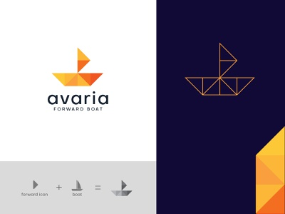 Avaria Forward Boat - logo design marine industry marine orange abstract logo abstract logo designer design agency boat logo app technology icon logo branding design brand identity logo design forward boat logo mark branding