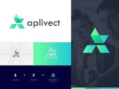 aplivect - a letter logo design