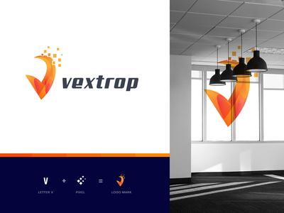 V logo mark for vextrop