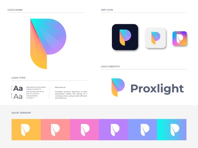 Proxlight logo design logo branding agency branding software logo 2020 data analytics gradient modern logo design logo designer illustration app icon app logo mark p letter logo p letter technology typogaphy letter logo lettering