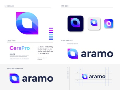 aramo branding software creative logo business logo design modern logo gradient app logo designer letter logo illustration brand identity branding logo mark technology leaf logo abstract a logo a letter logo