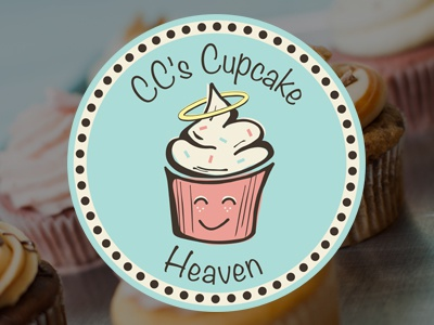 CC's Cupcake Heaven Logo circles dribbble debut cupcakes cupcake logo circle icing dessert food frosting halo cupcakery photography baking dots smile sprinkles