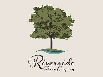 Riverside Pecan Company food pecans water illustrator company logo nature tree riverside river