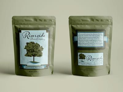 Riverside Pecan Company Bag mockup branding pecans food packaging tree water nature bag company logo riverside