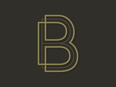 B b letter alphabet line illustrator logo type vector overlap inline