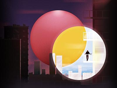 Untitled texture grain sun city illustration