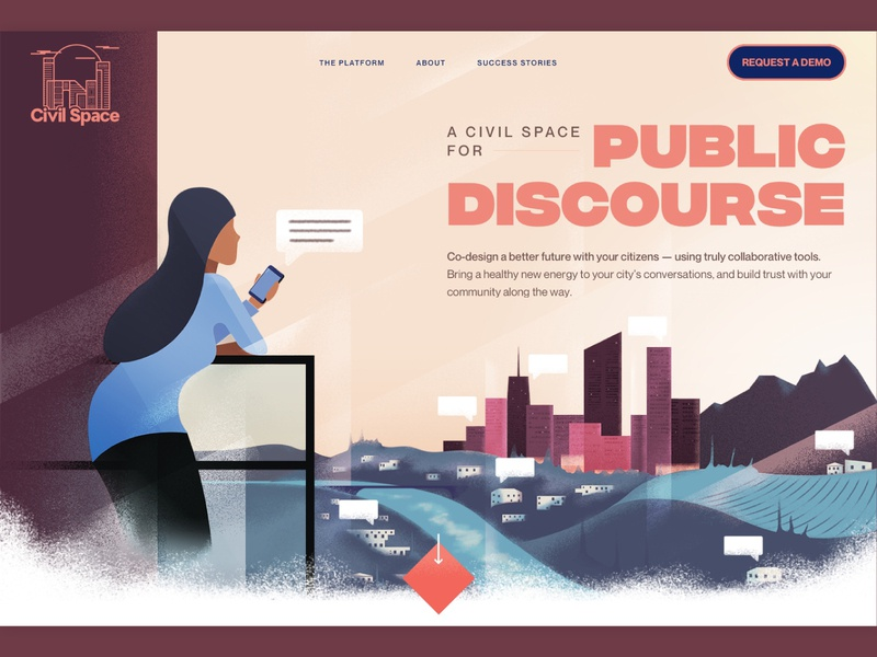Civil Space Hero Section V2 ui marketing site website illustration typography layout hero
