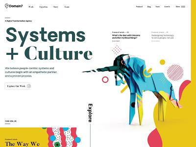 Domain7DotCom - Exploration agency vibrant bright ux ui 3d typography layout website