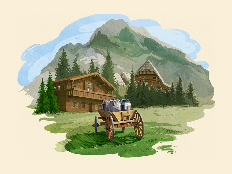 Almette from Schongau sketch website site mountain milk food digital webdesign digitalart art illustration design