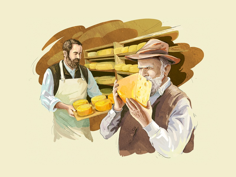 Almette cheese smell cheese men food interface art website digitalart creative web webdesign illustration digital design
