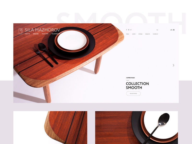 Collection «Smooth» ui  ux fonts interface design site minimalism clean website web furniture interface creative webdesign digital design