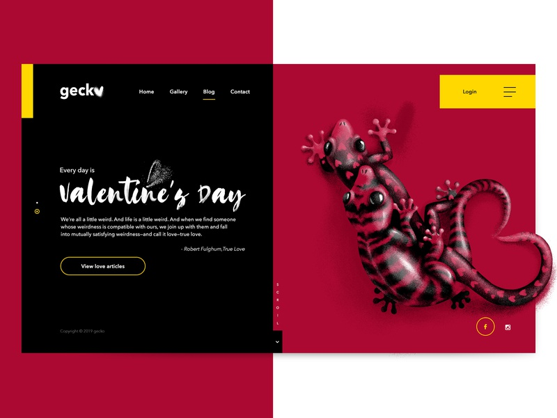 Valentine's Day Gecko typography ui ux animals kamasutra art valentine day love black creative illustration digital art site interface digital design website webdesign web