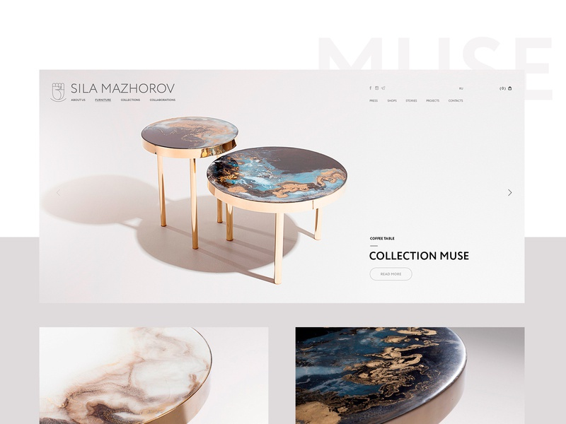 Collection «Muse» minimal ui ux site clean website web table interface interface design creative furniture webdesign digital