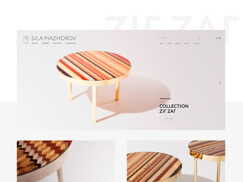 Collection  «Zig ZaГ» creative table interface design interface uiux site clean minimal website webdesign web furniture digital design