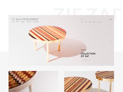 Collection  «Zig ZaГ» creative table interface design interface uiux site clean minimal website webdesign web furniture digital design