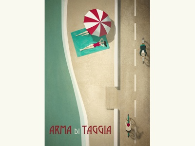 Bike lane - Arma di Taggia liguria poster art poster digital illustration illustration art illustration