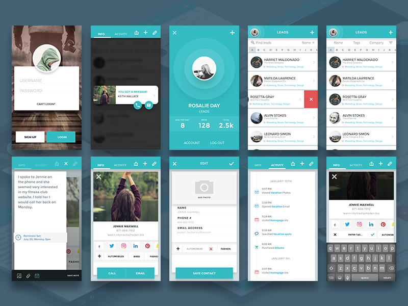 Social Leads App - Sketch Freebie ui kit contact dashboard analytics login ux app ios mobile download free