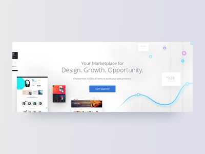 Hero image - BlueHost Marketplace cart interactive ecommerce search web flat material car ux ui design hero