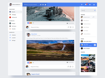 Facebook Redesign post chat icons flat social mockup facebook material ux ui design