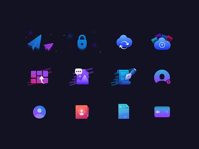 Icon illustrations dark app onboarding sketch icon set dark ui vector illustration branding icon design flat ux ui