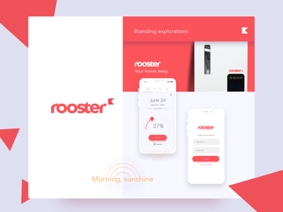 Rooster app home temperature product clean mobile icon branding logo app design flat ux ui