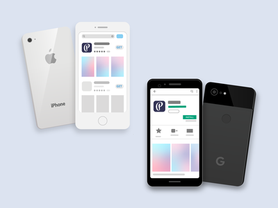 iOS Vs Android App Store aesthetics minimal flat clean vector ux ui mobile design app layout illustrator illustration design branding android app design google pixel iphone android ios