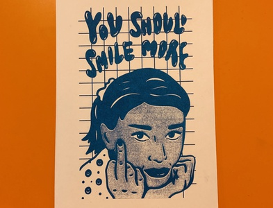 You Should Smile More Risograph Print