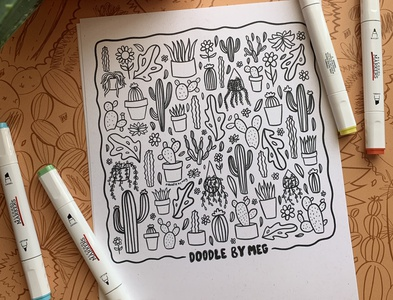 Downloadable Coloring Pages doodle etsy colorful cactus plants 2020 quarantine coloring book coloring page color procreate typography drawing illustration design