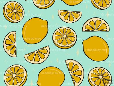 Lemon Print pattern art patterns food fruits fruit textile design pattern design print design lemons lemon pattern print procreate retro vintage illustration design