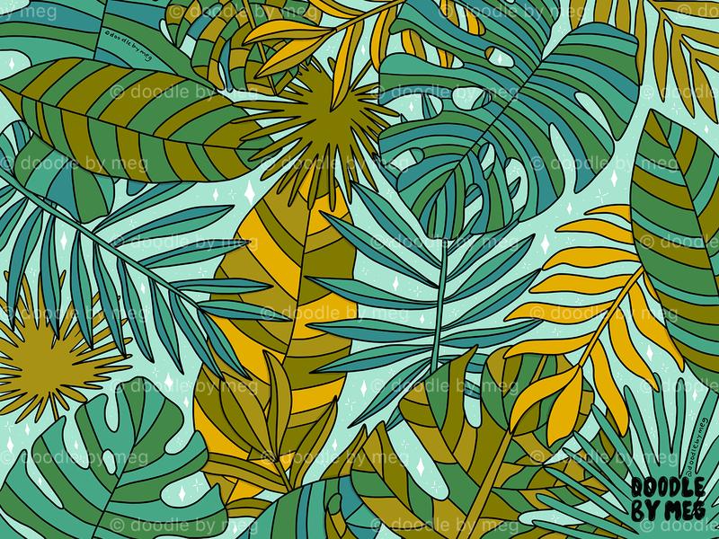 Tropical Leaves Print summer surface pattern design surface design pattern print leaf leaves tropical leaves botanical tropical procreate drawing illustration design