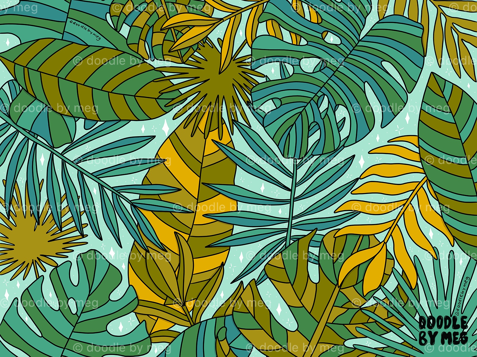 Tropical Leaves Print By Meghan Wallace On Dribbble Pattern, seamless floral vector on the black white geometric background. tropical leaves print by meghan wallace