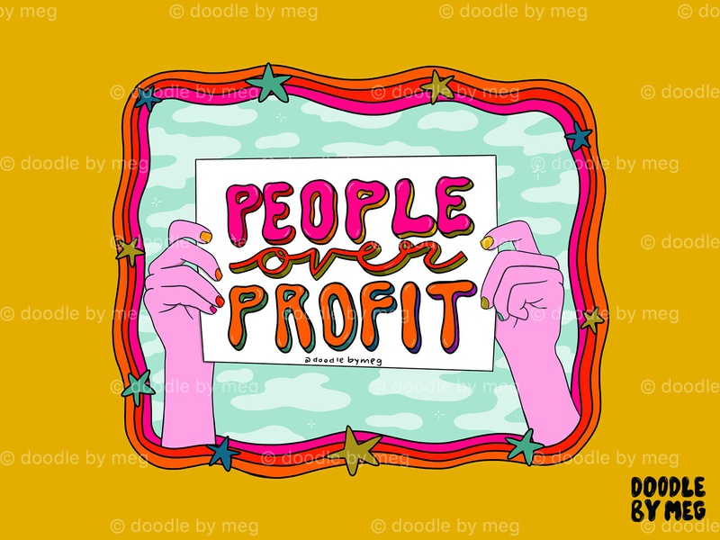 People Over Profit sign protest 70s psychedelic art rainbow quote procreate retro vintage lettering typography drawing illustration design