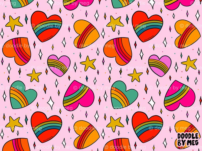 Rainbow Heart Print valentine day valentines love hearts heart textile pattern textile design textile print surface pattern design surface pattern pattern design patterns rainbow pattern procreate retro vintage drawing illustration design
