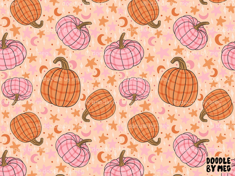 Pumpkin Print pattern design halloween autumn fall pumpkins pumpkin textile pattern textile design surface pattern designer surface pattern design surface pattern print design pattern print procreate retro vintage drawing illustration design