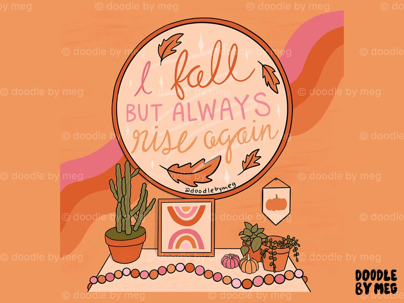 I Fall mirror bedroom pink plants cactus pumpkins pumpkin bohemian boho autumn fall orange procreate retro vintage lettering typography drawing illustration design
