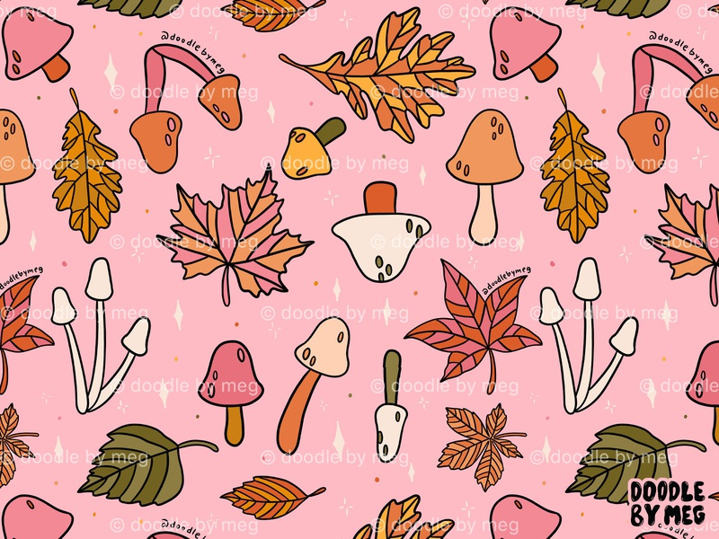 Falling Leaves Print pattern design mushrooms mushroom surface pattern design pattern print botanical illustration botanical art botanical nature fall colors autumn leaves autumn fall procreate drawing illustration design