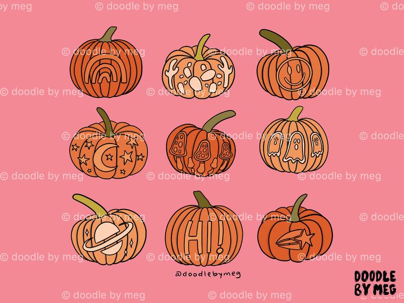 Carved Pumpkins Print fall colors t-shirt illustration t-shirt design t-shirt carved halloween autumn fall pumpkin carving pumpkins pumpkin jack o lantern procreate drawing illustration design