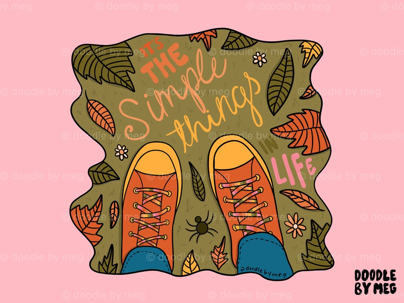 Simple Things leaves cursive shoes nature art camping hiking autumn leaves autumn fall colors fall nature illustration nature procreate retro vintage lettering typography drawing illustration design