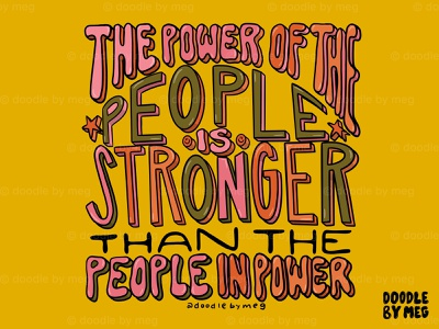 The Power of the People election vote2020 voting voter vote rainbow psychedelic quote procreate retro vintage lettering typography drawing illustration design