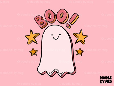 Cute Boo ghost graphics pink kawaii cute t-shirt halloween design ghosts boo halloween ghost procreate quote lettering typography drawing illustration design