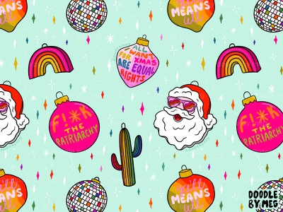 Alternative Ornaments holiday design christmas card disco ball cactus surface pattern surface pattern design pattern print santa claus christmas tree ornaments christmas rainbow vintage procreate lettering typography drawing illustration design