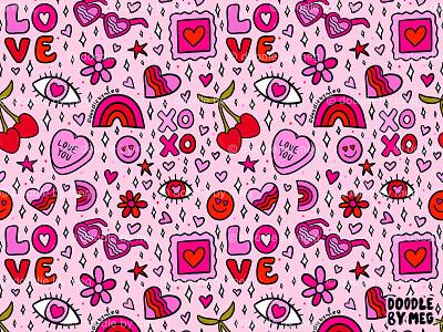 Valentine Print red pink surface pattern rainbow surface design love hearts valentines day valentine day valentine valentines surface pattern design pattern design pattern procreate vintage drawing illustration design