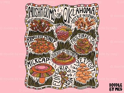 Mushrooms of Oklahoma botanical illustration botanical nature forest oklahoma mushrooms mushroom rainbow psychedelic procreate vintage lettering typography drawing illustration design