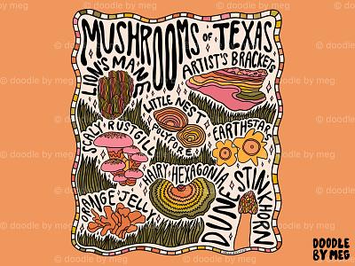Mushrooms of Texas nature illustration forest nature art botanical illustration botanical nature mushrooms mushroom rainbow procreate vintage lettering typography drawing illustration design