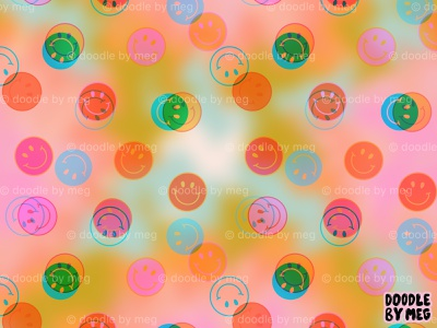 Tie Dye Smiley Face Stamp Print 70s 60s hippie pattern print surface pattern designer surface pattern design surface design surface pattern smiley face smile watercolor tie dye psychedelic rainbow procreate vintage drawing illustration design
