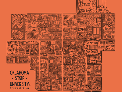 OSU Shirt of the Month: May 2021 illustration art university map college campus oklahoma state oklahoma osu t-shirt illustration t-shirt design illustrator procreate vintage lettering typography drawing illustration design