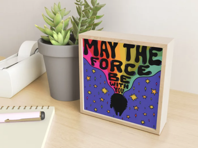 May The Force Be With You stars space star wars art star wars day 70s millenium falcon star wars rainbow quote retro procreate vintage lettering typography drawing illustration design