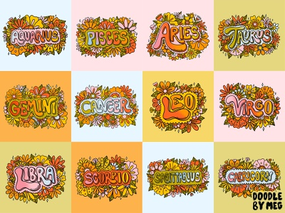 Zodiac Flowers Collection flowers illustration astrology horoscope flower illustration flowers flower zodiac signs zodiac sign zodiac rainbow quote retro procreate vintage lettering typography drawing illustration design