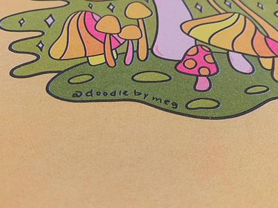 Risograph Prints printing prints art print quote manifest eyeball mushrooms mushroom rainbow riso print risograph riso procreate vintage lettering typography drawing illustration design